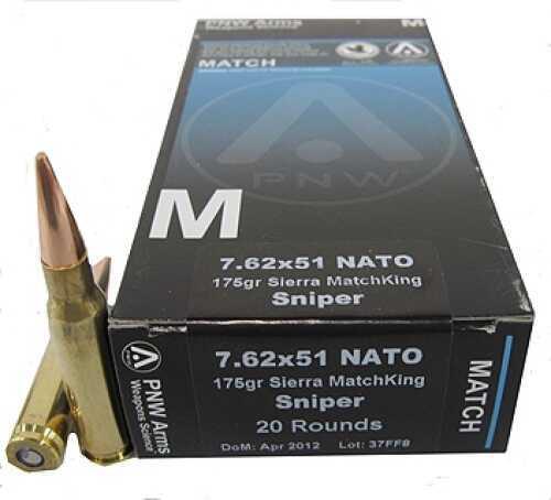 PNW Arms 7.62x51mm Sniper 175 Gr MatchKing HPBT (Per 20) 762NATOMTH175BTHP20