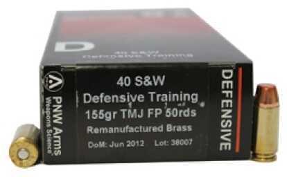 PNW Arms Defensive Trainer Ammunition 40 S&W 155gr TMJ (RemanBrass)/50 40SWDTR155TMJ50R
