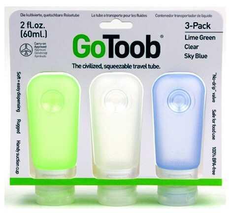 Humangear GoToob Medium, 2 oz, 3-Pack, Clear/Green/Blue HG0184