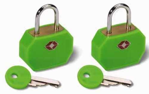 Humangear Travel Sentry Mini Padlock, 2 Pack Neon Green TSA14GRN