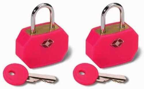 Humangear Travel Sentry Mini Padlock, 2 Pack Neon Pink TSA14PNK