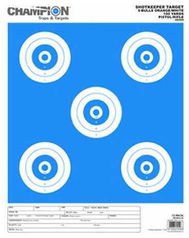 Champion Traps and Targets Shotkeeper 5 Bulls (Per 12) Orange/White, Large 45559