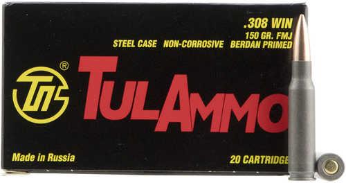 308 Win FMJ 150 Grain Steel Case 20 Box Tulammo Ammunition (Damaged Box)
