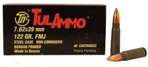 Tula 7.62x39mm 122 gr Full Metal Jacket (FMJ) Ammo 40 Round Box