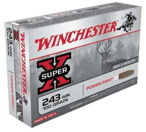 Winchester Ammunition Super-X 243WIN 100 Grain Power Point 20 Round Box X2432