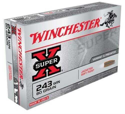 Winchester Ammunition Super-X 243WIN 80 Grain Pointed Soft Point 20 Round Box X2431