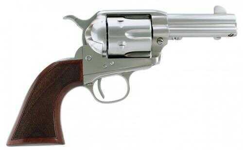 "Cimarron Thunderstorm Revolver SA 45 Colt 3.5"" Barrel Pre-War Style Checkered Walnut Grip Stainless Steel Finish CA4516TSM10G27"