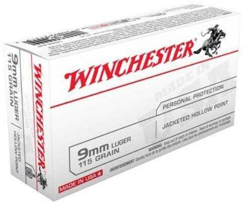 Winchester Ammunition USA 9MM 115 Grain Jacketed Hollow Point 50 Round Box USA9JHP
