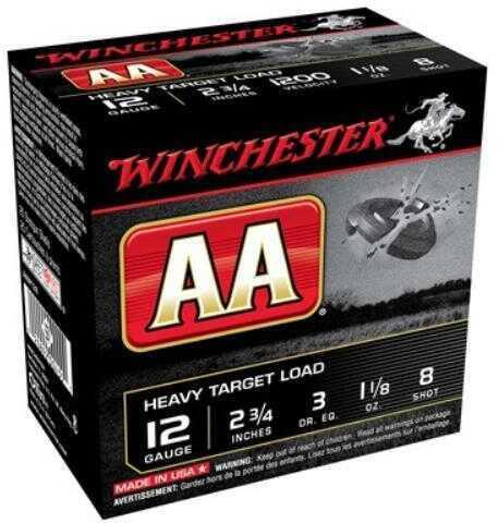 """Winchester AA Target LD 12 Gauge 2 3/4"""" 1 1/8Oz #8 25 Rounds Ammunition AAM128"""