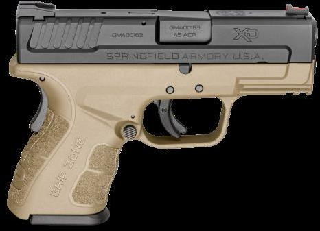 "Springfield Armory XD Mod2.0 45ACP 10 Round 3.3"" Barrel Black Finish Flat Dark Earth Frame Semi Automatic Pistol"