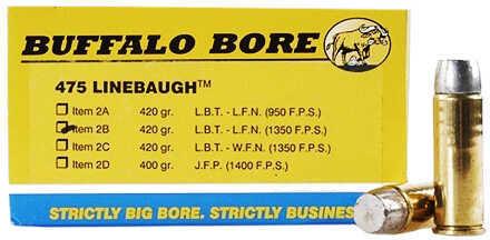Buffalo Bore Ammunition 475 Linebaugh TM 420 Gr Hard Cast LBT-LFNGC 1350 fps (Per 50) 2B/50