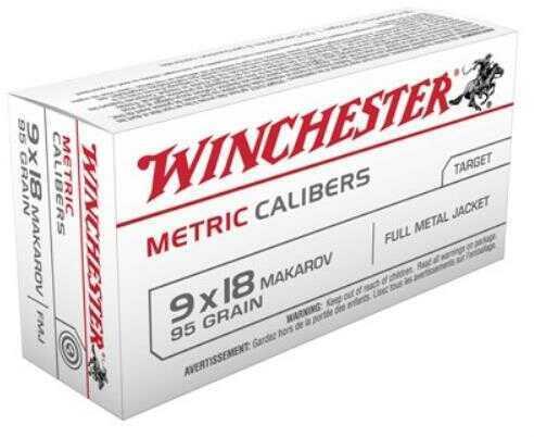 Winchester Ammunition Metric 9MM Makarov 95 Grain Full Metal Jacket 50 Round Box MC918M