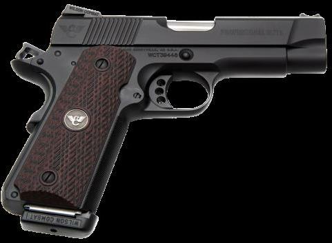 "Wilson Combat Professional Elite Single 45 ACP 4"" Barrel 8+1 Rounds Black G10 Diagonal Grip Black Finish Semi Automatic Pistol"