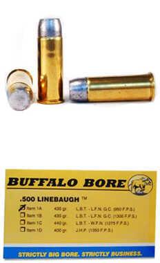 Buffalo Bore Ammunition 500 Linebaugh TM 435 Gr Hard Cast LBT-LFNGC 950 fps (Per 50) 1A/50