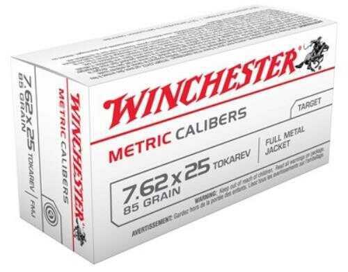 Winchester Metric 7.62X25 Tokarev 85 Grain Full Metal Jacket 50 1500 Mc7.62TOK