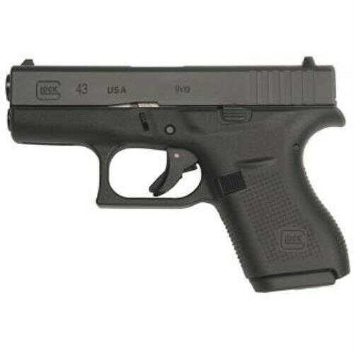 "Glock 43 Sub-Compact Pistol 9mm 3.41"" Barrel 6 Round Black Steel Slide Black Polymer w/Aggressive Texture Grip Fixed Sights"