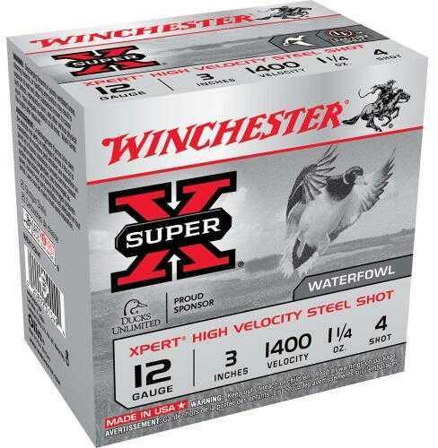 """Winchester XPERT HV Steel 12 Gauge 3"""" 1.25Oz #4 25 Rounds Ammunition WEX123H4"""