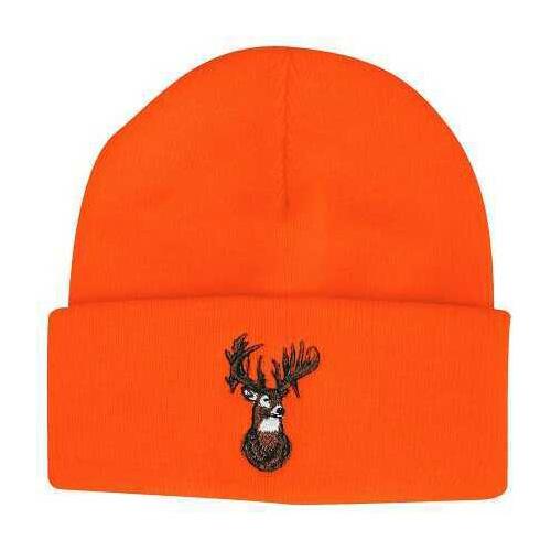 Outdoor Cap Knit Watch Cap Blaze Orange w/Deer One Size Model: KW03DH