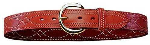 "Bianchi 12869 Fancy Stitch Belt B12 34"" Tan Leather"