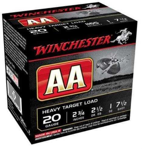 "Winchester Ammunition AA Target 20 Gauge 2.75"" #7.5 2.5 Dram 1 oz. Shotshell 25 Round Box AAH207"