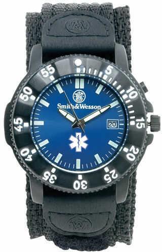Smith & Wesson 455 Emt Watch w/Black Nylon Strap - Blue Face