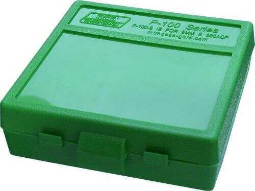 MTM Ammo Box 100 Round Flip-Top 9mm 380 ACP Green P-100-9-10