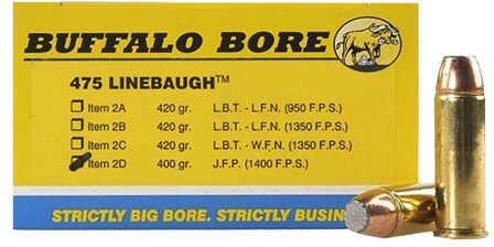 Buffalo Bore Ammunition 475 Linebaugh TM 400 Gr JFN (Per 20) 2D/20