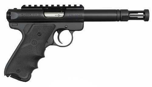 "Ruger Talo MK III Bull 22 Long Rifle Pistol 4"" Barrel Threaded Matte Black Alloy Steel Hogue Grip 10 Round With Flash Hider Semi-Auto Pistol"