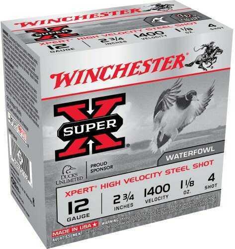 """Winchester XPERT HV Steel 12 Gauge 2 3/4"""" 1 1/8Oz #4 25 Rounds Ammunition WEX12H4"""