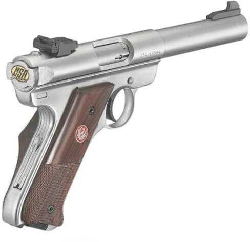 "Ruger Talo Mk III 22 Long Rifle 4.75"" Barrel USA Shooting Team Engraved Checkered Walnut Grip Semi-Auto Pistol"