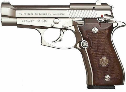 """Beretta 380 ACP Semi-Auto Pistol 84 Cheetah 10+1 Capacity 3.8"""" Barrel Alloy Frame Wood Grip Nickel Finish"""