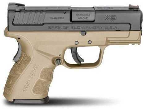 "Pistol Springfield Armory XDG9845Flat Dark Earth HC Mod.2 45 ACP SC 3.3"" Barrel 9 Rounds Flat Dark Earth"