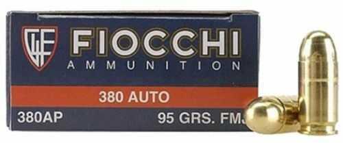 Fiocchi Ammunition Centerfire Pistol 380 ACP 95 Grain FullMetal Jacket 50 Round Box 380AP