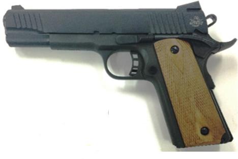 "Rock Island Armory M1911-A1 38 Super Automatic Single Action Double Diamond Checkered Wood Fixed Sights 5"" Barrel 9+1 Rounds Semi-Auto Pistol"