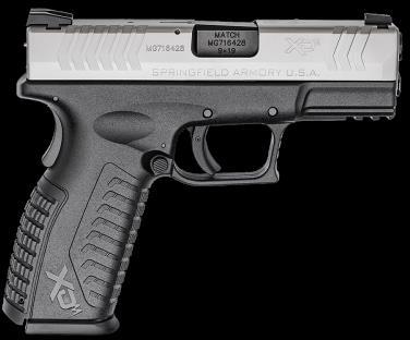 "Pistol Springfield Armory XD(m) 9mm 19rd 3.8"" Barrel Stainless Steel Finish Black Frame"
