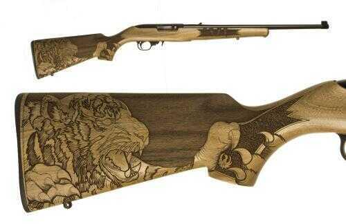 "Ruger Rifle 10/22 TIGER 22 Long Rifle Blued Wood Stock Engraved Tiger Stock Barrel 18"" 21146"