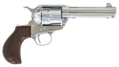 """Cimarron Thunderstorm Revolver 45 Colt 4.75"""" Barrel Pre-War Thunderer Style Checkered Walnut Grip Stainless Steel Finish CA4507TSM10G27"""