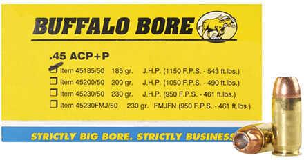 Buffalo Bore Ammunition 45 ACP +P JHP 185 Gr (Per 50) 45-185/50