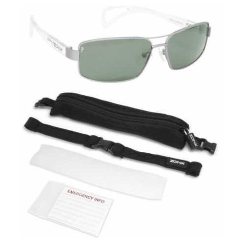 Dakota Watch Zoinx Men Wrap Polarize Sunglasses Silver Aviator-Green Lens