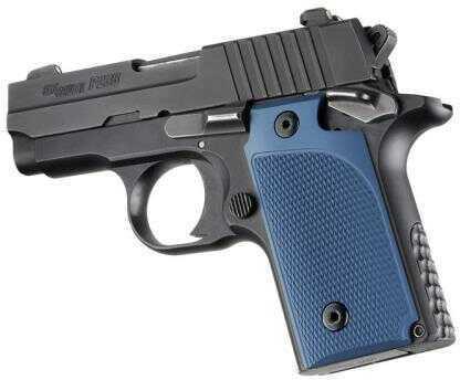 Hogue Sig P238 Grips Checkered Aluminum Matte Blue Anodized 38173