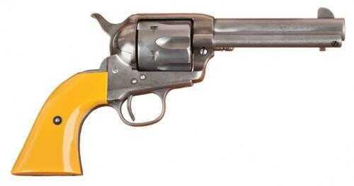 "Cimarron Rooster Shooter 1873 SAA Revolver 45 Colt 4.75"" Barrel 1 Piece Orange / Yellow Grip Hollywood Uber Style Original Finish RS410"