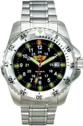UZI Defender Tritium Watch w/Silver Stainless Steel Strap