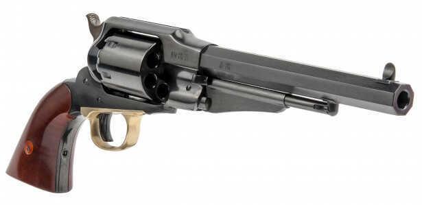 "Cimarron 1858 Remington Navy Percussion Revolver 36 Caliber 7.5"" Barrel Blue Steel Brass 2-Piece Walnut Grip Standard Blued Finish CA112"