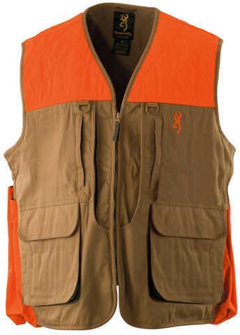 Browning Upland Vest w/Blaze Trim, Field Tan Large 3051193203