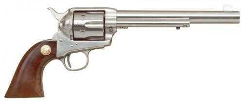 "Cimarron 1873 SAA Stainless Steel Frontier Revolver .45 Colt 7.5"" Barrel Stainless Steel Finish Pre-War Frame Walnut Grip MP4502"