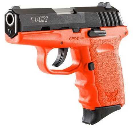 "SCCY CPX-2 CBOR Pistol 9mm 3.1"" Barrel Crb Nms 10 Rounds Polymer Frame Orange/Black"