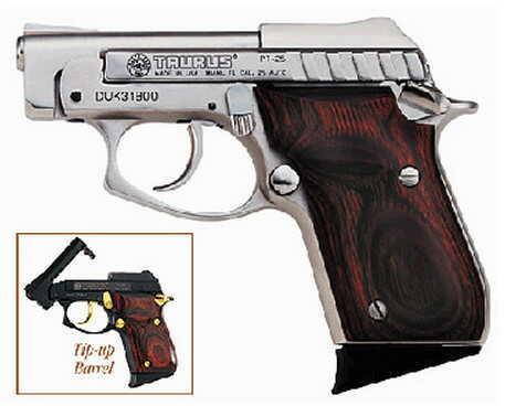 "Taurus PT25 25 ACP  2.75"" Barrel 9+1 Round (Nickel with Rosewood) Semi Automatic Pistol  1250035R"