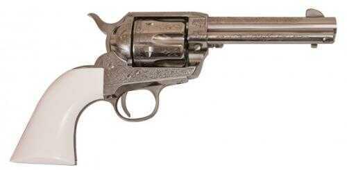"Cimarron Frontier 5.5"" 45Colt Nickel, Laser Engraved Polymer Ivory Grip Pre-War Revolver"