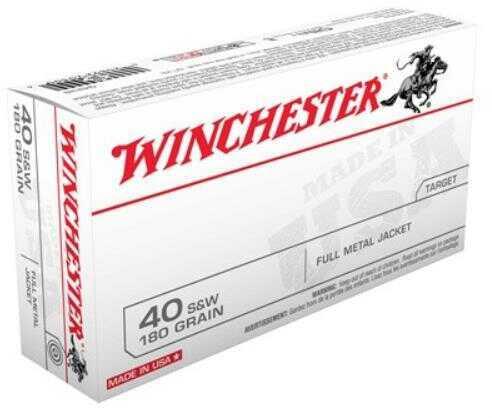 Winchester Ammunition USA 40S&W 180 Grain Full Metal Jacket 50 Round Box Q4238