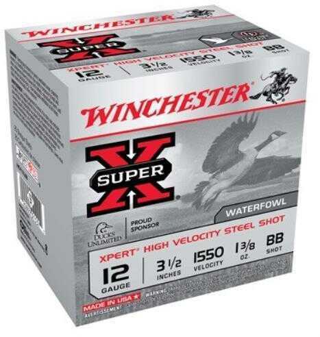 "Winchester Ammunition Xpert HI-Velocity Steel 12 Gauge 3.5"" #BB 1 3/8 oz Steel Shot Lead Free 25 Round Box WEX12LMBB"